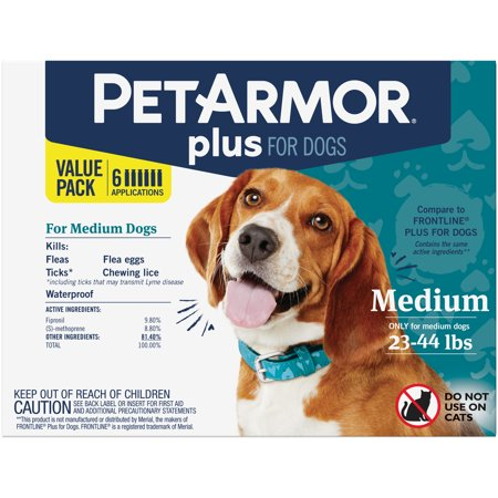 PetArmor Plus Flea & Tick Prevention for Medium Dogs (23 to 44 Pounds), 6 Monthly
