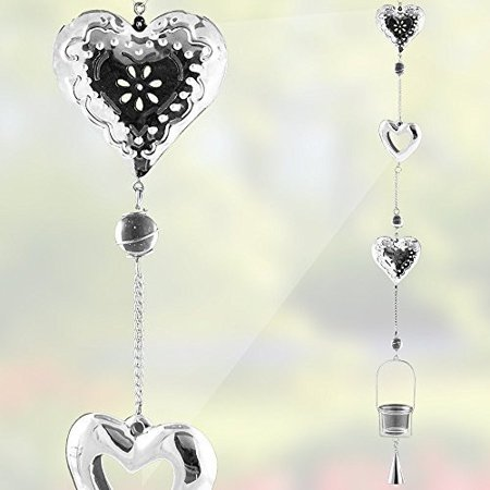 Filigree Candle (Heart Shaped Hanging Glass Votive Candle Holder - Silver Filigree Heart Garden Chimes - Hanging Garden Decor - 44 Inch High)