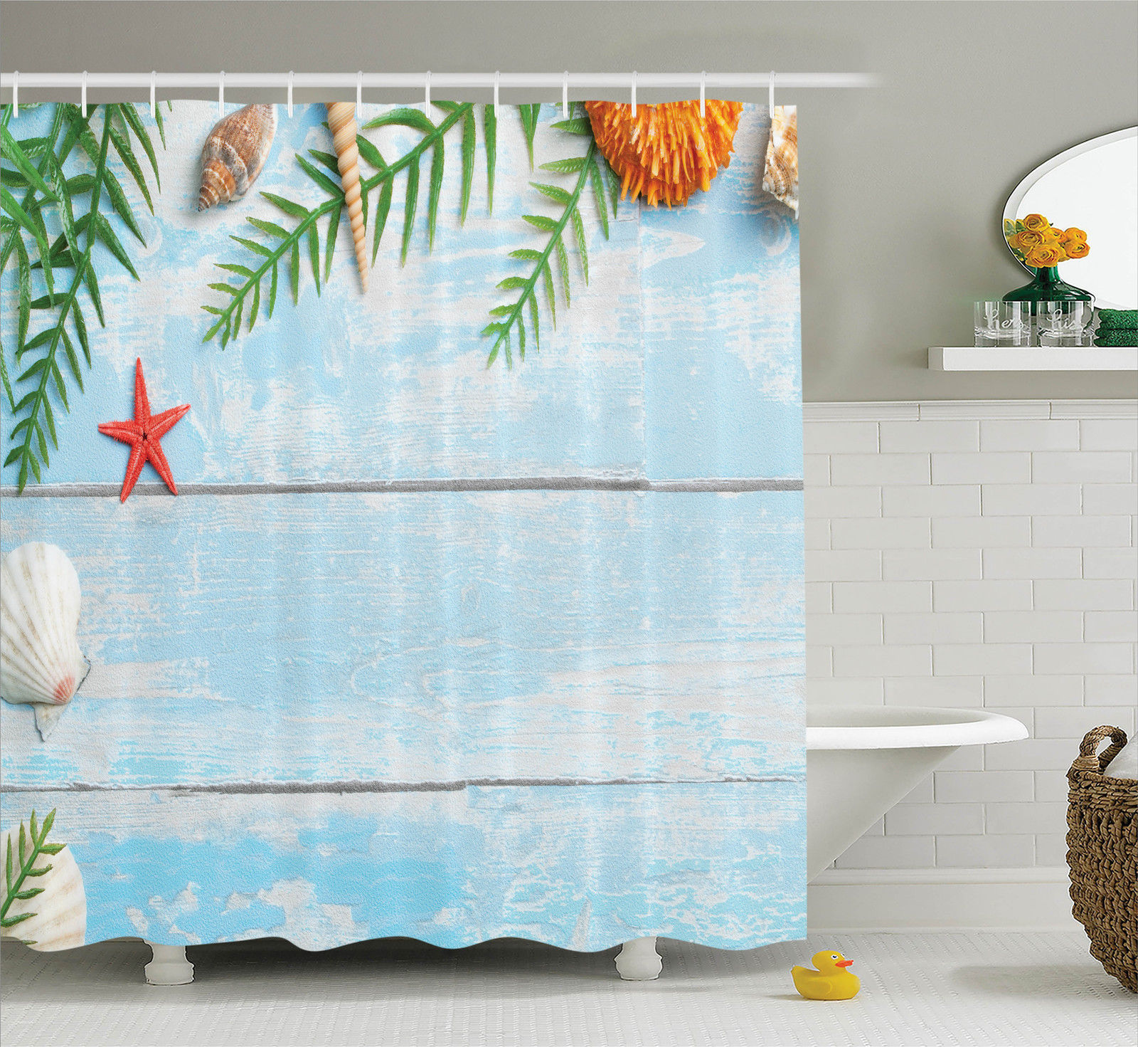 Tropical Beach Theme Rustic Style Seashells and Palms Picture Shower Curtain Set