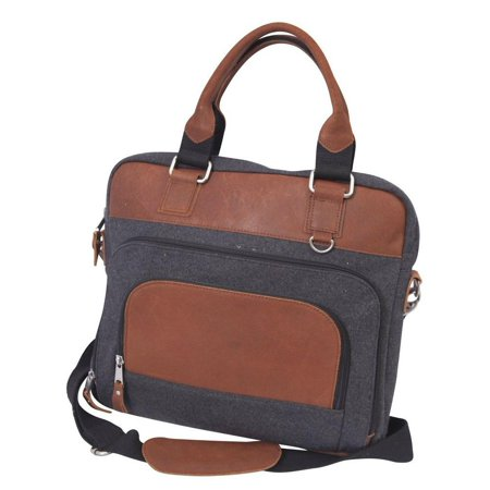Canyon Outback Jonah 14-inch Wool and Leather Laptop Briefcase - Grey and Tan