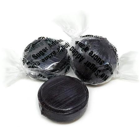 SweetGourmet Sugar Free Black Licorice Mini Buttons Isomalt | No Sugar Added Hard Candies | Bulk Wrapped | Kosher | 4 pounds](Black Lollipops)