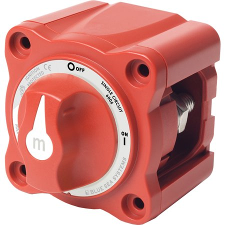 Blue Sea Systems m-Series Mini On-Off Battery Switch with Knob, Red