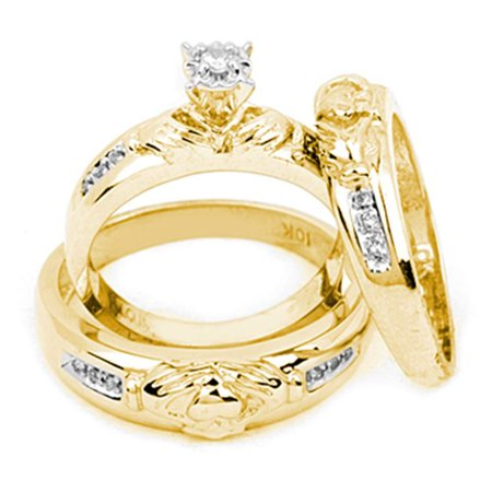 14kt Yellow Gold His & Hers Round Diamond Claddagh Matching Bridal Wedding Ring Band Set 1/8 -