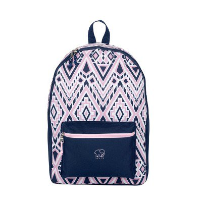 Ivory Ella 17.5 Inch Backpack with Padded Shoulder Straps, Pink/Blue Diamond Mosaic