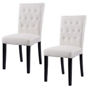 Costway Set Of 2 Fabric Dining Chair Armless Home Kitchen Living Room Furniture