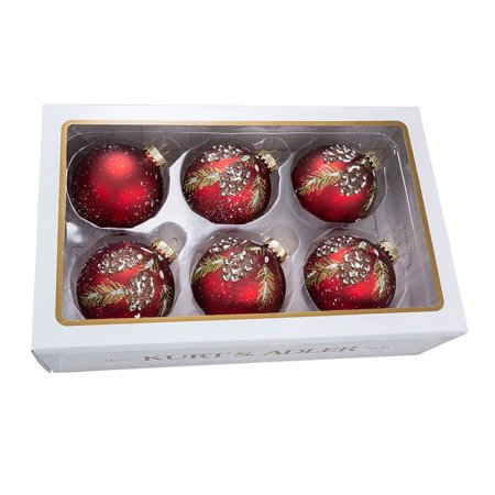 Kurt Adler 80MM Glass Red With Pinecone Design Ball Ornaments, 6 Piece Box Set