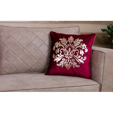 WPM Designer Collection Home Décor: 18 inch x 18 inch Throw Pillow cushion cover with insert. choose from Burgundy, Beige, Royal Blue, Brown, Black, - Burgundy Insert
