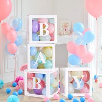 4Pack Letter BABY/LOVE Cube Transparent Gift Ballons Boxes Kid Birthday Baby Shower Party Christmas Decoration(not include ballon)