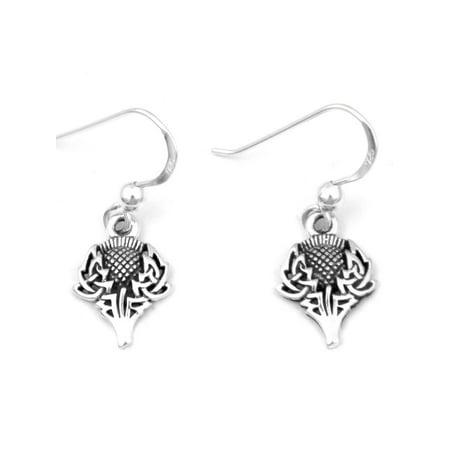 Scottish Thistle Jewellery - Scottish Spirit of Alba Thistle Celtic Knot Art  Sterling Silver Earrings by Courtney Davis
