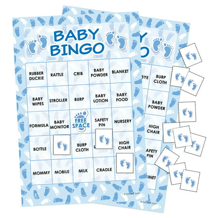 Blue It's a Boy Baby Shower Bingo Game, 24 Players (Twin Baby Shower Games)