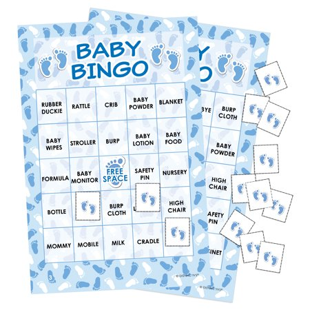 Blue It's a Boy Baby Shower Bingo Game, 24 Players - Paris Theme Baby Shower