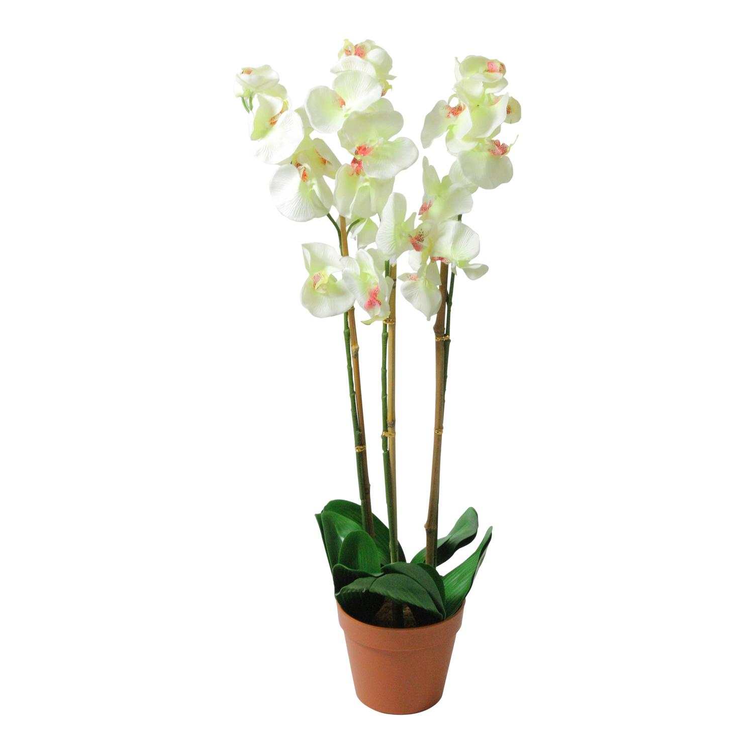 305 Potted White Phalaenopsis Orchid Artificial Silk Flower Plant
