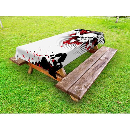 Halloween Outdoor Tablecloth, Skull with Crossed Bones over Grunge Background Evil Scary Horror Graphic, Decorative Washable Fabric Picnic Tablecloth, 58 X 104 Inches, Pearl Red Black, by Ambesonne