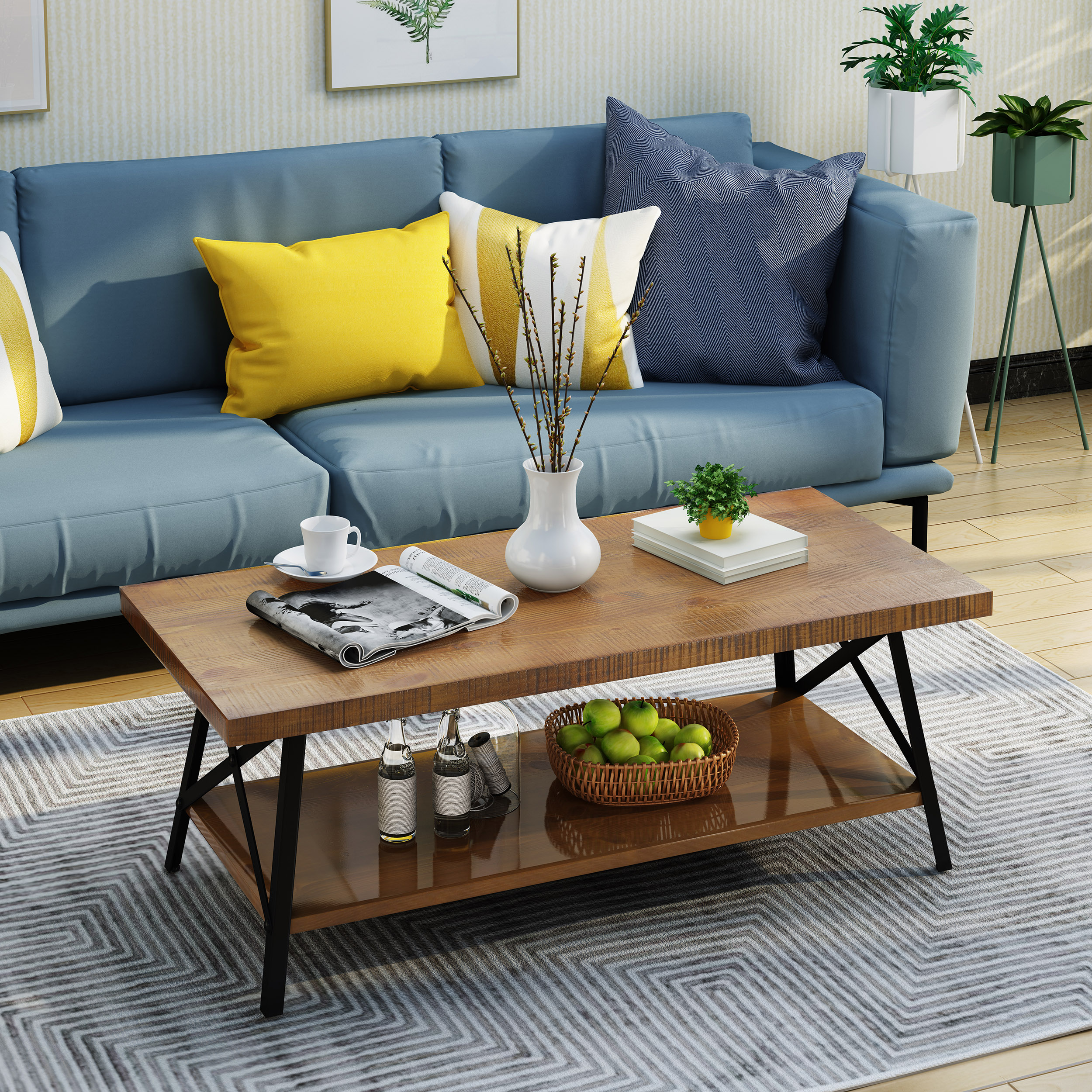 Noble House Industrial Faux Wood Coffee Table,Natural