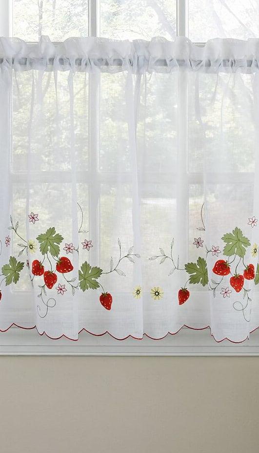 Embroidered Elegance Strawberry Kitchen Curtain Tier Pair 58 W X 36 L Walmart Com Walmart Com