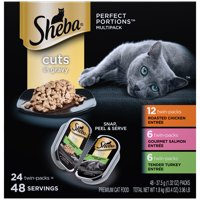 (24 Pack - 48 Servings) SHEBA Wet Cat Food Cuts in Gravy Variety Pack, Roasted Chicken, Gourmet Salmon, and Tender Turkey Entrees, 2.6 oz. PERFECT PORTIONS Twin Pack Trays