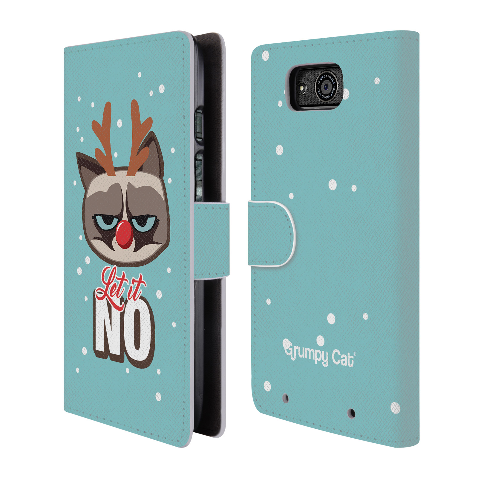 OFFICIAL GRUMPY CAT GRUMPMOJI CHRISTMAS LEATHER BOOK WALLET CASE COVER FOR MOTOROLA PHONES