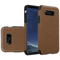 HR Wireless Leather TPU Rubber Candy Skin Case Cover For Samsung Galaxy S8 - Dark Brown