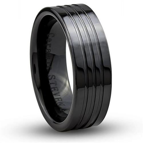 Doma Jewellery SSCER07111 Ceramic Ring 8 mm. Wide, Size 11