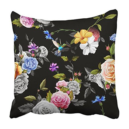 ARHOME Watercolor Tropical with Exotic Flowers Bird of Paradise Orchidea Palm Pillowcase Cushion Cover 18x18 inch Bird Of Paradise Cover