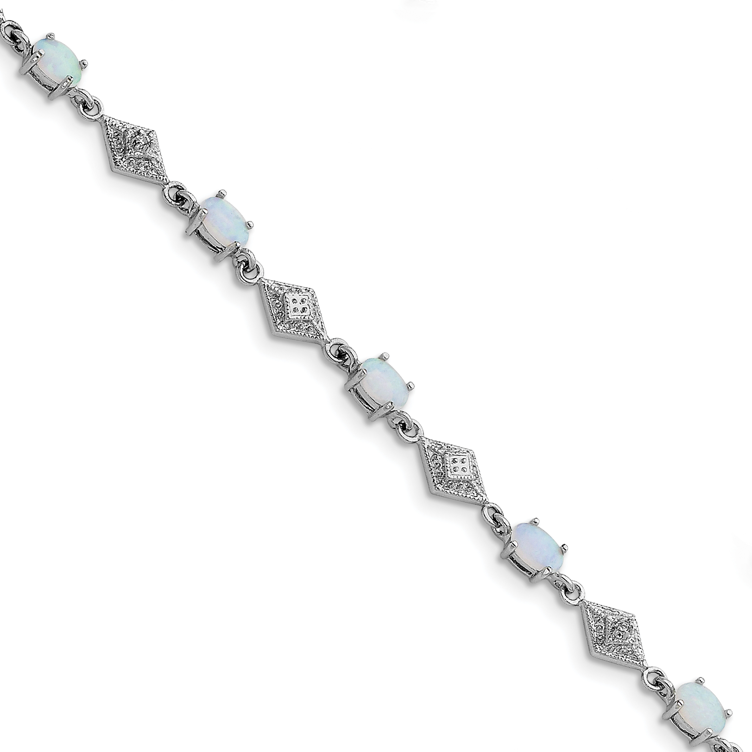 925 Sterling Silver Rhodium-plated White Created Opal and Cubic Zirconia Bracelet - image 2 de 2