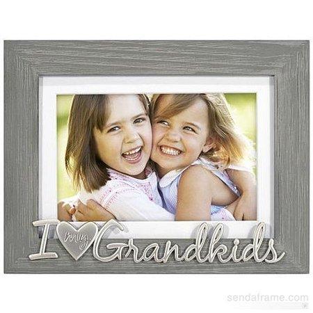 I  HEART  MY GRANDKIDS Gray Wood Keepsake 5x7 4x6 frame