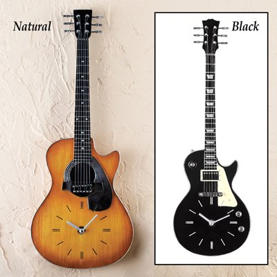 Realistic Guitar Clock Wall Decor 21 H Black Black