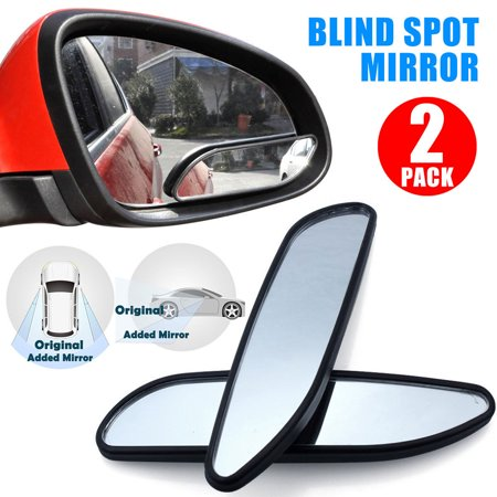 TSV Universal 2 Pack Auto 360° Wide Angle Convex Rear Side View Blind Spot Mirror for Car ()