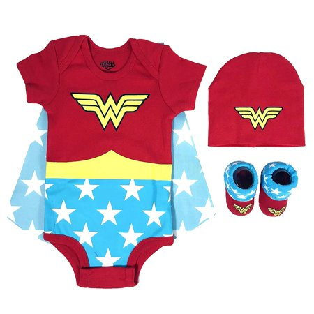 DC Comics Baby Girls Superman, Wonder Woman, Flash, Batman 3-pc Set in Gift Box, red, 0-6](Wonder Woman Baby)