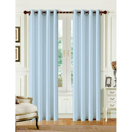 1 PANEL MIRA  SOLID LIGHT BLUE  SEMI SHEER WINDOW FAUX SILK ANTIQUE BRONZE GROMMETS CURTAIN DRAPES 55 WIDE X 63