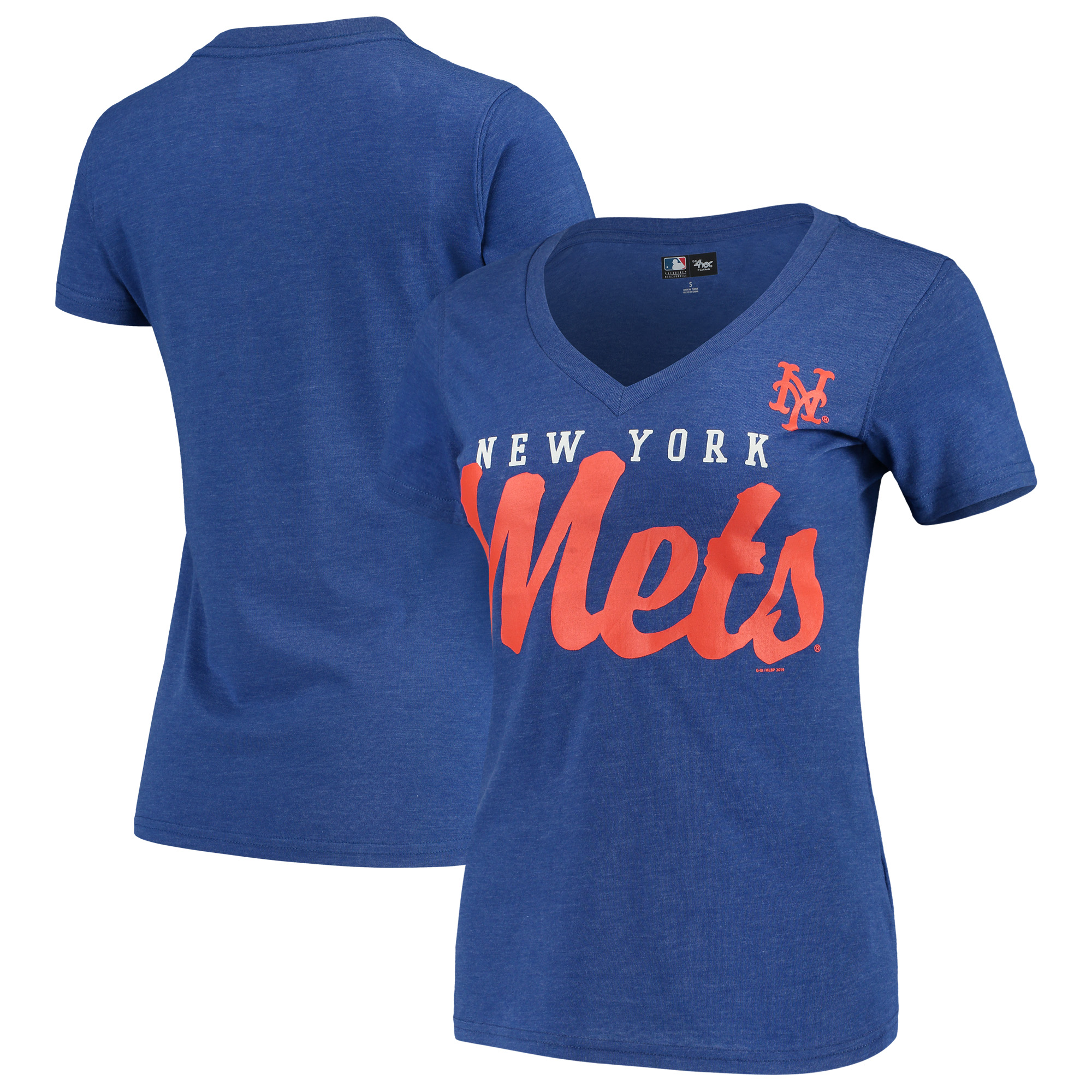 info for 193b2 aee43 New York Mets G-III 4Her by Carl Banks Women's Game Day V-Neck T-Shirt -  Royal