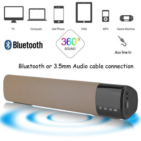 Bluetoot h Wireless speaker, Wireless Bluetoot h Speakers Outdoor Sport  HIFI Column Speaker Subwoofer Sound Bar Box Support FM Radio TF Mp3 Player