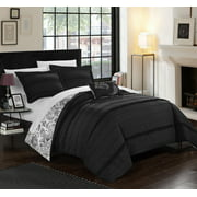 Chic Home 8-Piece Atticus Pleated and Ruffled REVERSIBLE Paisley Floral Print, Sheets set included in Queen Bed In a Bag Duvet Set Black Shams and Decorative Pillows included