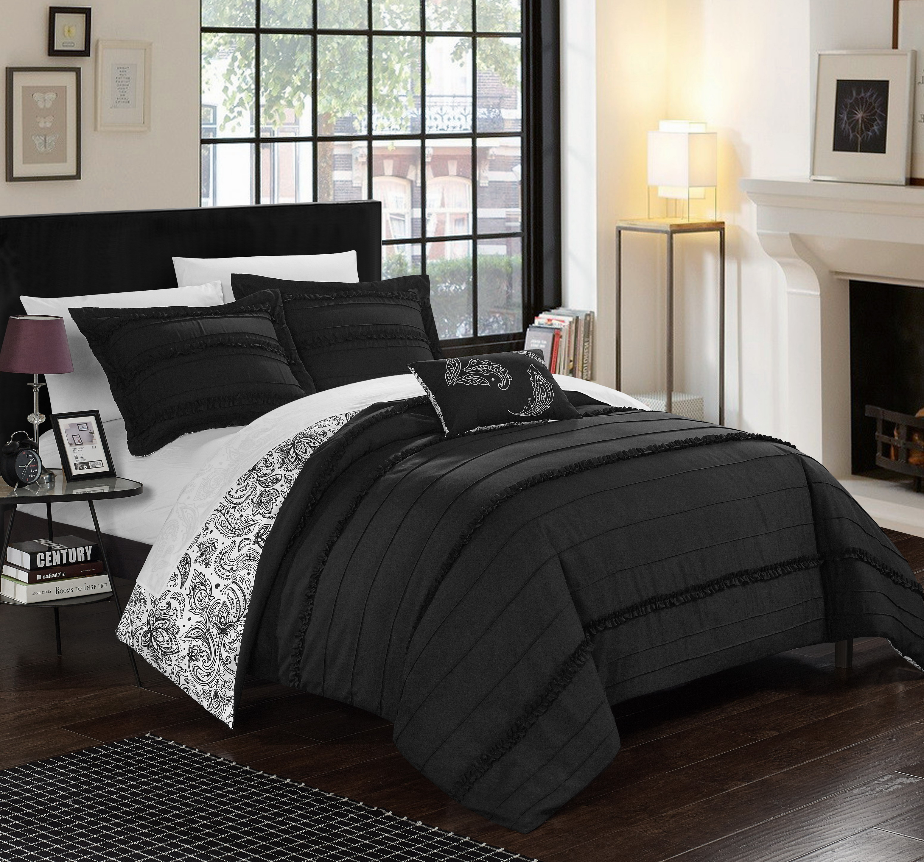 Chic Home 8-Piece Atticus Pleated and Ruffled REVERSIBLE Paisley Floral Print, Sheets set included in King Bed In a Bag Duvet Set Black Shams and Decorative Pillows included