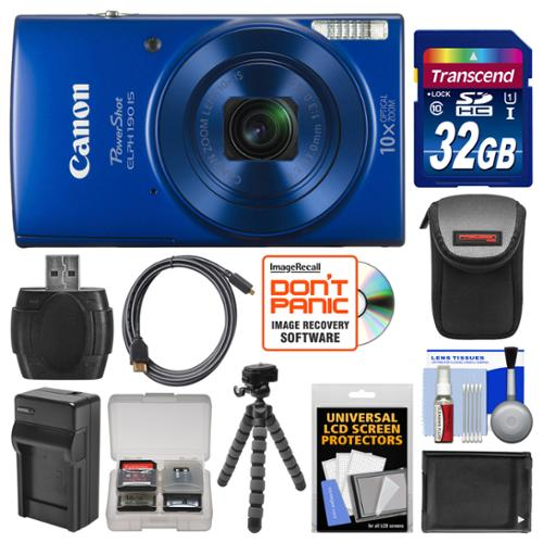 Canon PowerShot Elph 190 IS Wi-Fi Digital Camera (Blue) with 32GB Card + Case + Battery & Charger + Flex Tripod + HDMI Cable + Kit