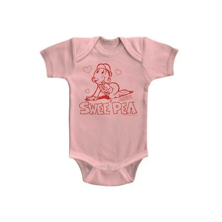 Popeye Sweet Pea Light Pink Infant S/S Bodysuit Nb - Sweet Pea Popeye