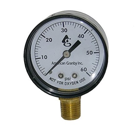 swimming pool or spa filter pressure gauge, side mount 60lb filter pressure gauge 1/4