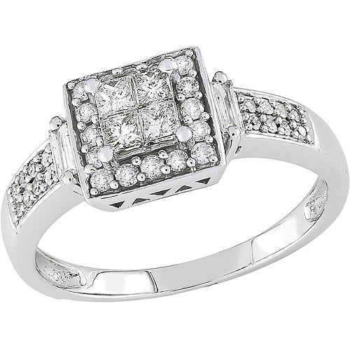 Miabella 1/2 Carat T.W. Princess and Baguette-Cut Diamond Engagement Ring in 10kt White Gold