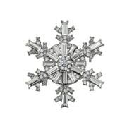 Zircon Crystal Copper Plated Winter Snowflake Brooch Shawl Bridesmaid Holiday Christmas Pin
