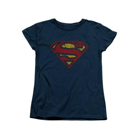 Superman DC Comics Superhero Cracked Classic S Shield Logo Women's T-Shirt (Superhero T Shirts Women's)