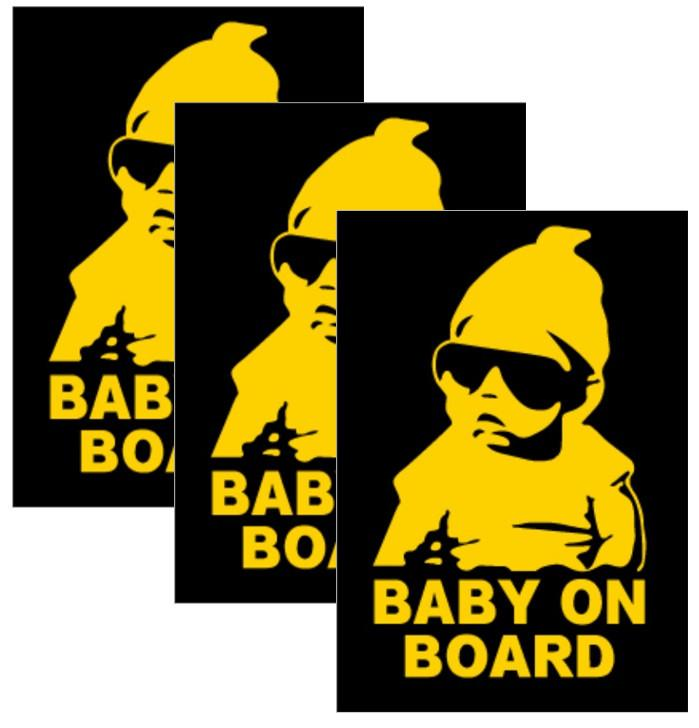 Yellow Reflective Baby on Board Car Decal Sticker Sign, Cap Style, 3-Pack