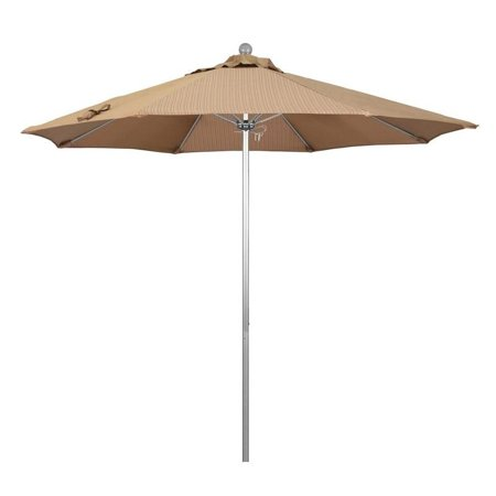 Magnolia Garden 9' Push Lift Aluminum/Fiberglass Umbrella with Olefin Fabric - Terrace Sequoia