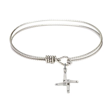 7 1 4 Inch Oval Eye Hook Bangle Bracelet W  St  Brigid Cross Charm Sterling Silver Medal