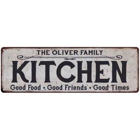 THE OLIVER FAMILY KITCHEN Vintage Look Metal Sign Chic Decor Retro (Vintage Oliver Sign)