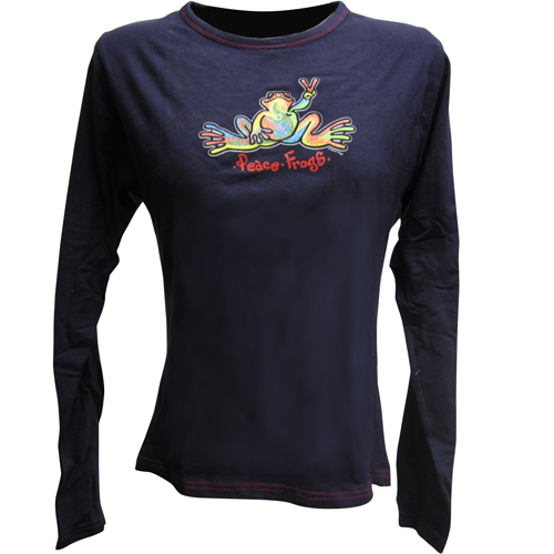 Peace Frogs Womens Navy/Red Stitch Retro Long Sleeve T-Shirt