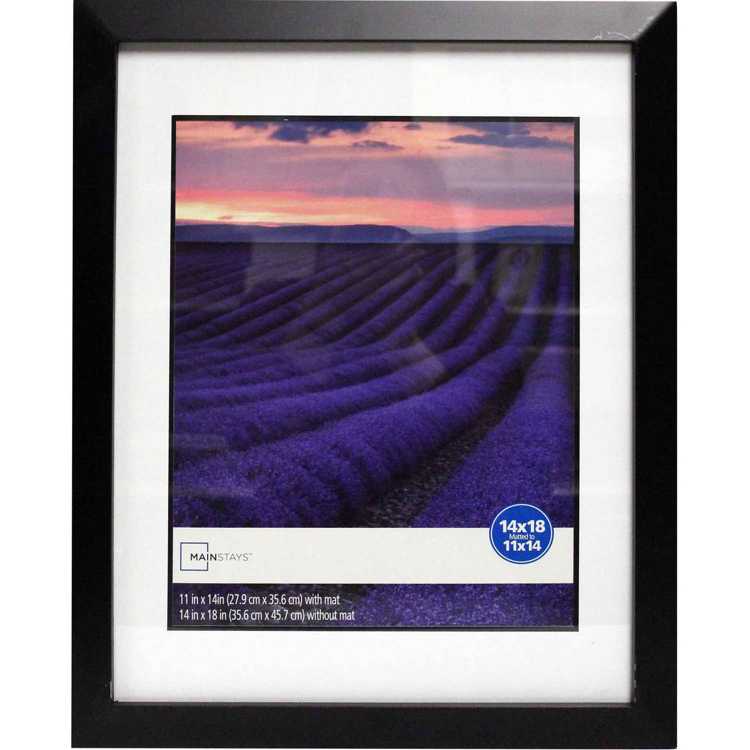 Mainstays Wide Picture Frame, 14x18 matted to 11x14