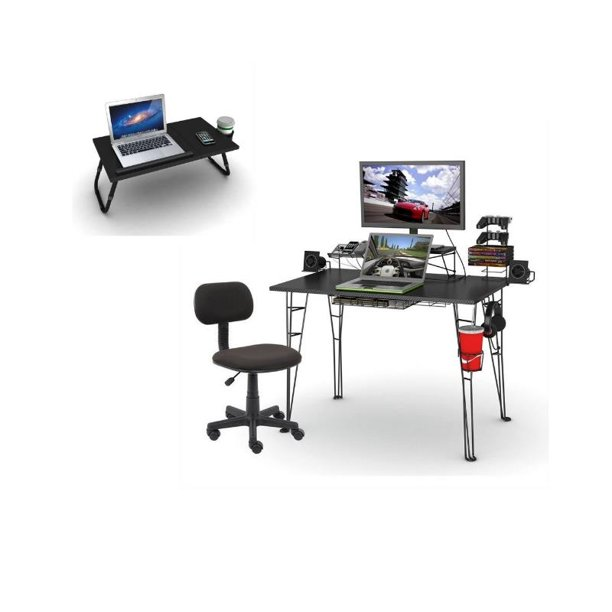 3 Piece Gaming Desk and Chair with Laptop Tray Set - Walmart.com
