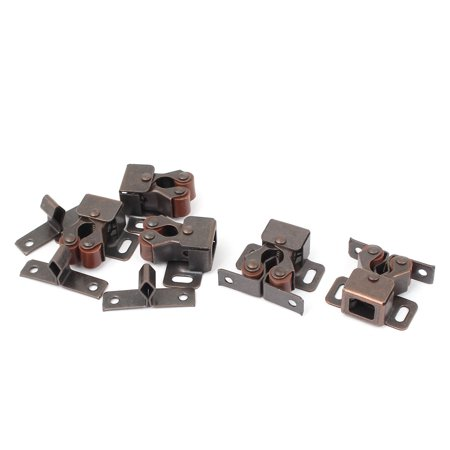 Cabinet Door Cupboard Latch Double Ball Roller Catch Copper Tone 5 Pcs