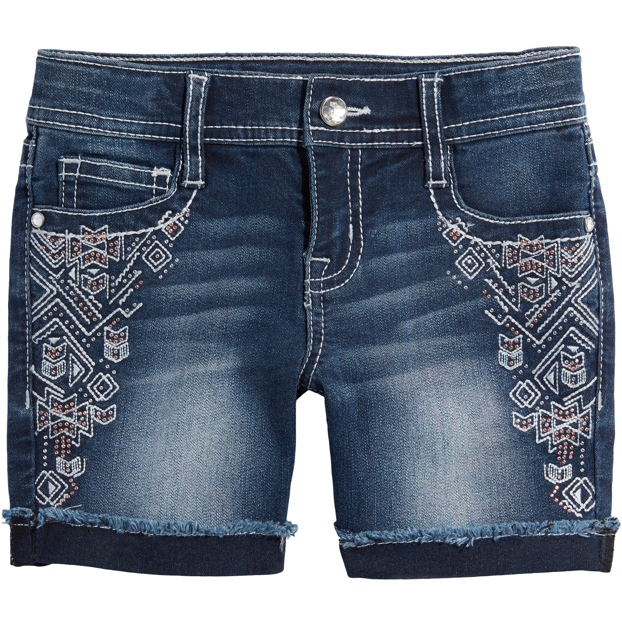 LEI Girls' Bling Aztec Denim Midi Shorts