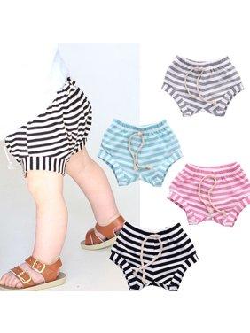 Toddler Kids Baby Boy Girls Hot Pants Cotton Striped PP Children Pants Bottoms age 0-4Years
